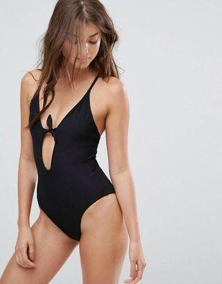 PULL & BEAR BLACK PLUNGE SWIMSUIT WITH BOW FRONT SIZE 8