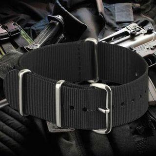 Nato Nylon Watch Strap - 20mm (Black) #GayaRaya