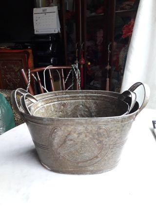 Vintage metal  flower pot