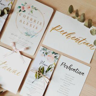 Wedding card, invitation, menu, calligraphy