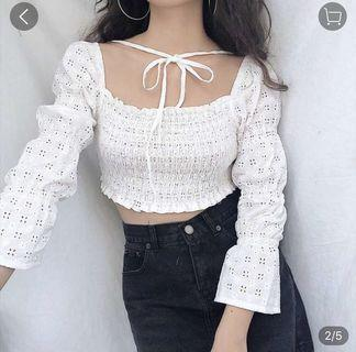 WHITE BRODERIE PUFF SLEEVE CROP TOP RUCHED