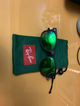 Authentic Rayban Junior Matte Black Sunglasses Mirrored green lens
