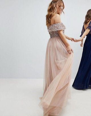 Maya Petite Bardot sequin Dress -High low