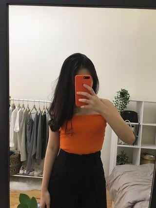 Orange square knit top