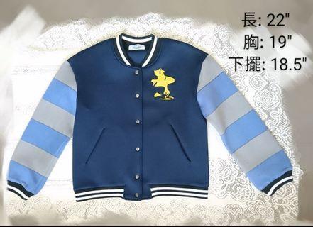 全新韓國Woodstock長袖太空棉間條褸 Jacket Outer Coat Korea Snoopy深藍色棒球外套
