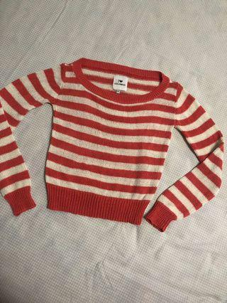 Colorbox Stripes Coral White Crop Sweater