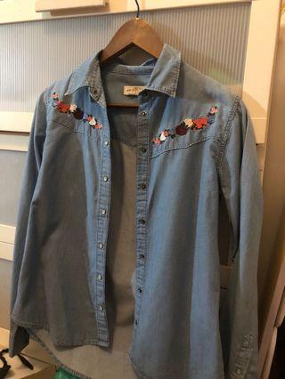 Button Up Denim Shirt Chambray Floral