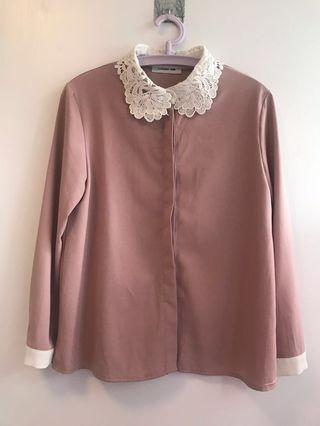 Laguna One 粉紅色蕾絲白領長袖氣質斯文上衣裇衫 Pink long-sleeves blouse/ shirt