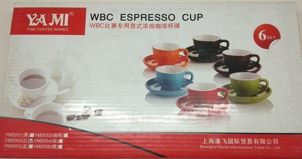 Red 75ml Espresso Cups & Saucers x 6