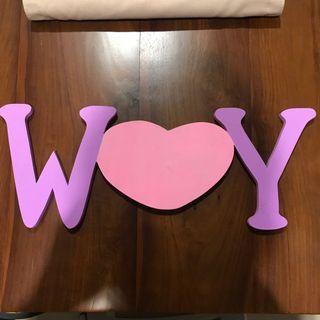 Wooden Letter (Huruf Dekorasi Kayu) W Love Y