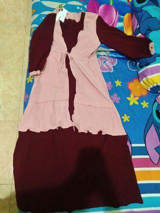 Gamis 100% NEW with Price Tag warna maroon and pink