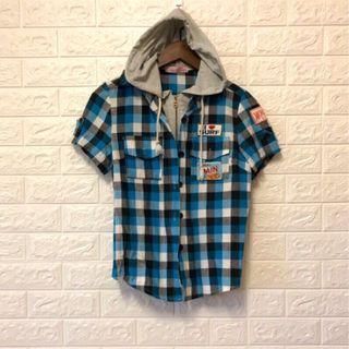 🚚 格紋連帽拉鏈襯衫|春夏適宜