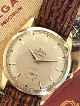Hari Raya Special 20% off - 70 Years Solid Gold-Filled 10K Vintage Omega Automatic Bumper, Approx 65 years, Cal 344, Serial 14215524