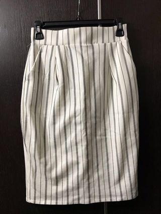 黑色直間白色裙 (半橡筋腰) #summer19