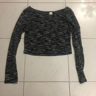 🚚 h&m grey long sleeve textured crop top