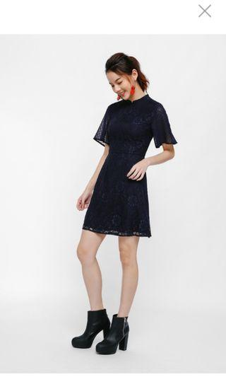 Prelia Mandarin Collar Lace Dress