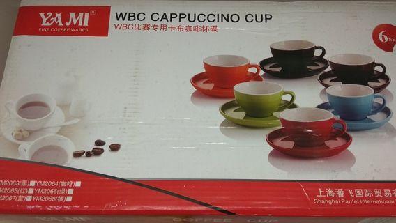 Sky Blue 250ml Cappuccino Cups & Saucers x 6
