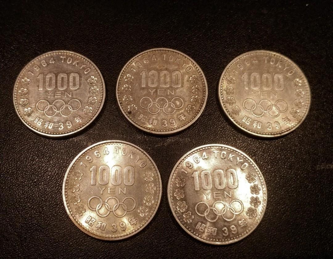 日本1964年東京奧運銀幣千円 共五枚