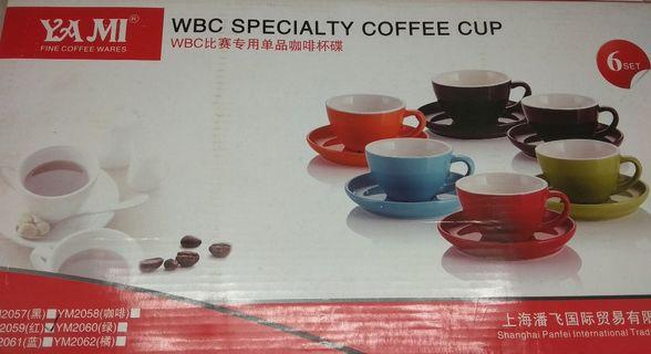 Red 200ml Cappuccino Cups & Saucers x 6