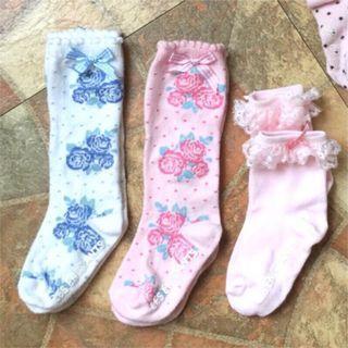 《3雙120元》麗嬰房女童短襪 蕾絲襪 止滑襪 造型襪 棉襪 les Enphants
