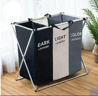 Laundry Basket in separate compartments for white, black, coloured clothings