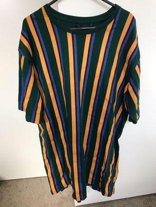Green Yellow and Blue Striped Top