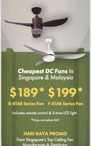 DC fan+LED light+remote+delivery=$189 / $199 Hari Raya sale