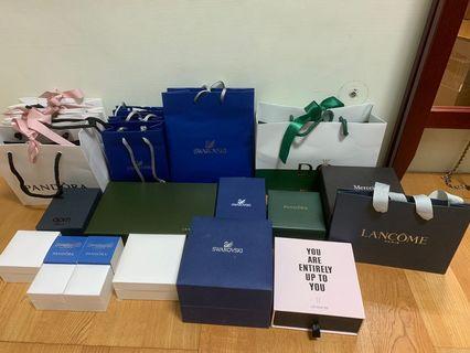 Pandora、swarovski、apm、longchamp等盒子、袋子
