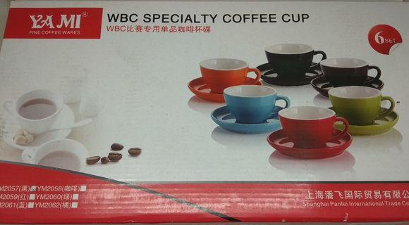 Black 200ml Cappuccino Cups & Saucers x 4