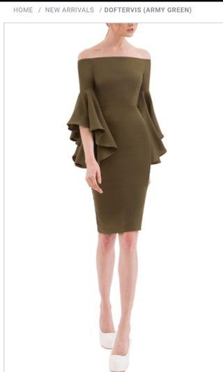 Doublewoot Doftervis off shoulder army green bodycon midi dress with ruffles half sleeves