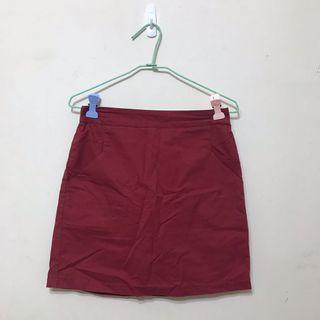 🚚 紅色有口袋後鬆緊短裙