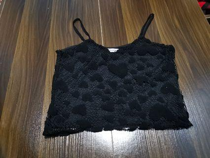 Black Hearts Crochet Top
