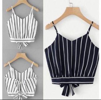 🚚 stripe crop self tied spag top