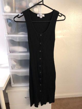 Black thick sleeve button up dress