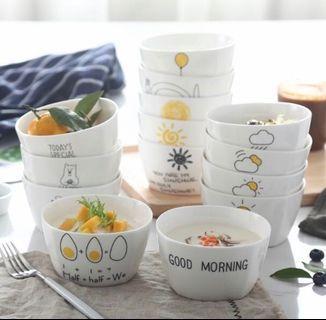 """🚚 創意卡通""""雞蛋圖案""""陶瓷餐具米飯碗方形碗 一組兩入"""