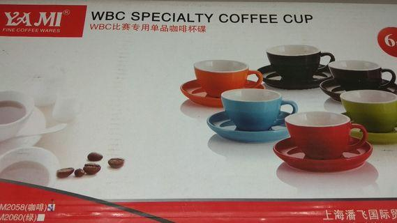 Brown 200ml Cappuccino Cups & Saucers x 6