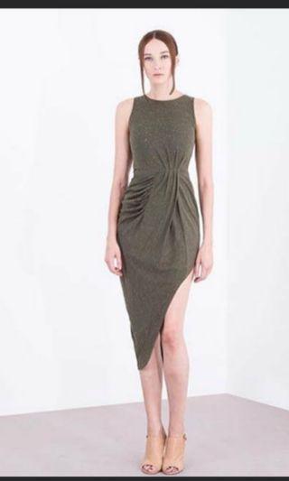 Doublewoot Doferta army green sront slit long maxi dress