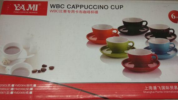 Red 250ml Cappuccino Cups & Saucers x 6