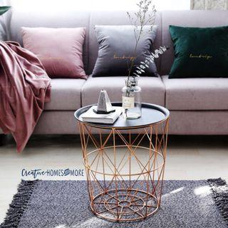 GEOMETRIC STORAGE TABLE/BED SIDE TABLE in ROSE GOLD