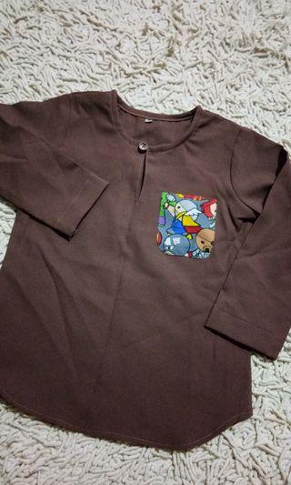 Kurta brown 3/4y