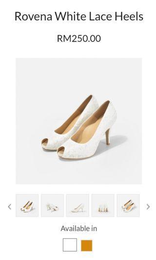 Christy Ng Rovena white lace open toe platform heels
