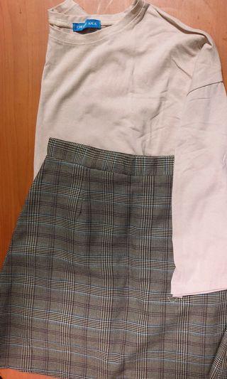 杏色薄七分袖上衣搭格紋短裙(套)