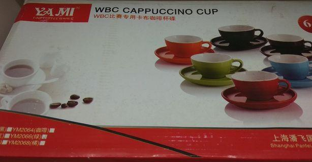 Apple Green 250ml Cappuccino Cups & Saucers x 6