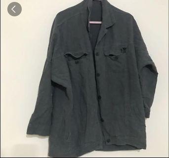 🚚 水洗感綠灰色襯衫 襯衫外套