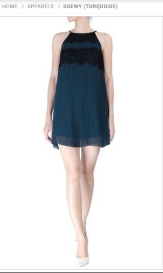Double woot Doewy Turquoise chiffon lace short mini dress