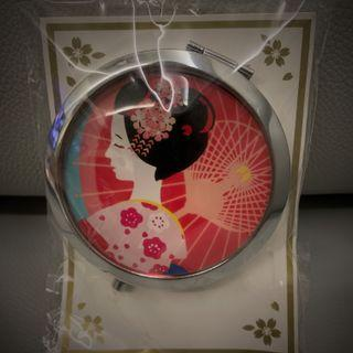 Japan Geisha Kimono Lady Floral Pocket Mirror