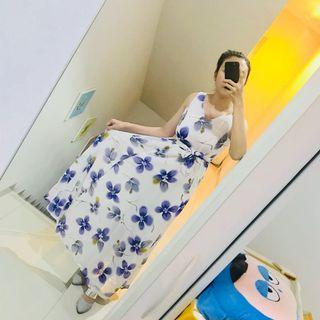 Maxi Dress white flower purple