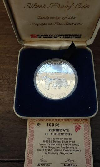 1988 $5 Proof Coin. Centenary of SG Fire service