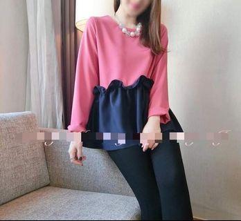 全新韓國粉紅色拼深藍色長袖衫 女裝泡泡上衣 Pink Top Made in Korea