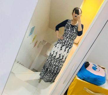 Long Dress hitam putih daun